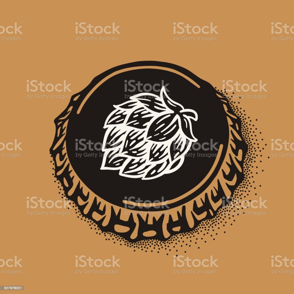 Craft beer bottle cap with brewing inscription in vintage style vector art illustration