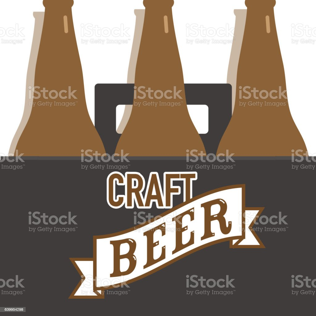 Craft Beer bottle six pack label with text vector art illustration