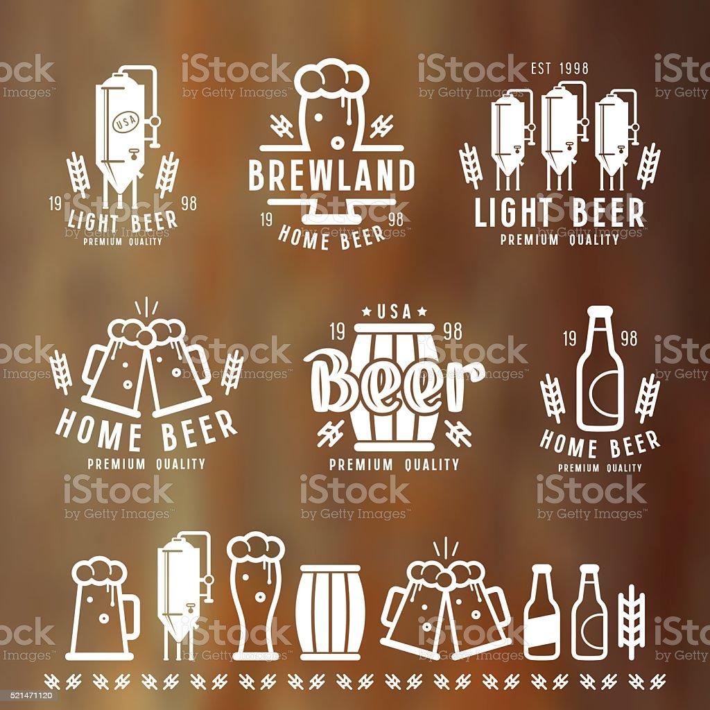 Craft beer brewery emblems vector art illustration