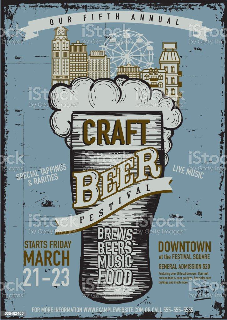 Craft beer Festival Poster design template vector art illustration