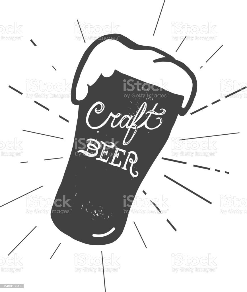 Craft beer glass label hand lettering design vector art illustration