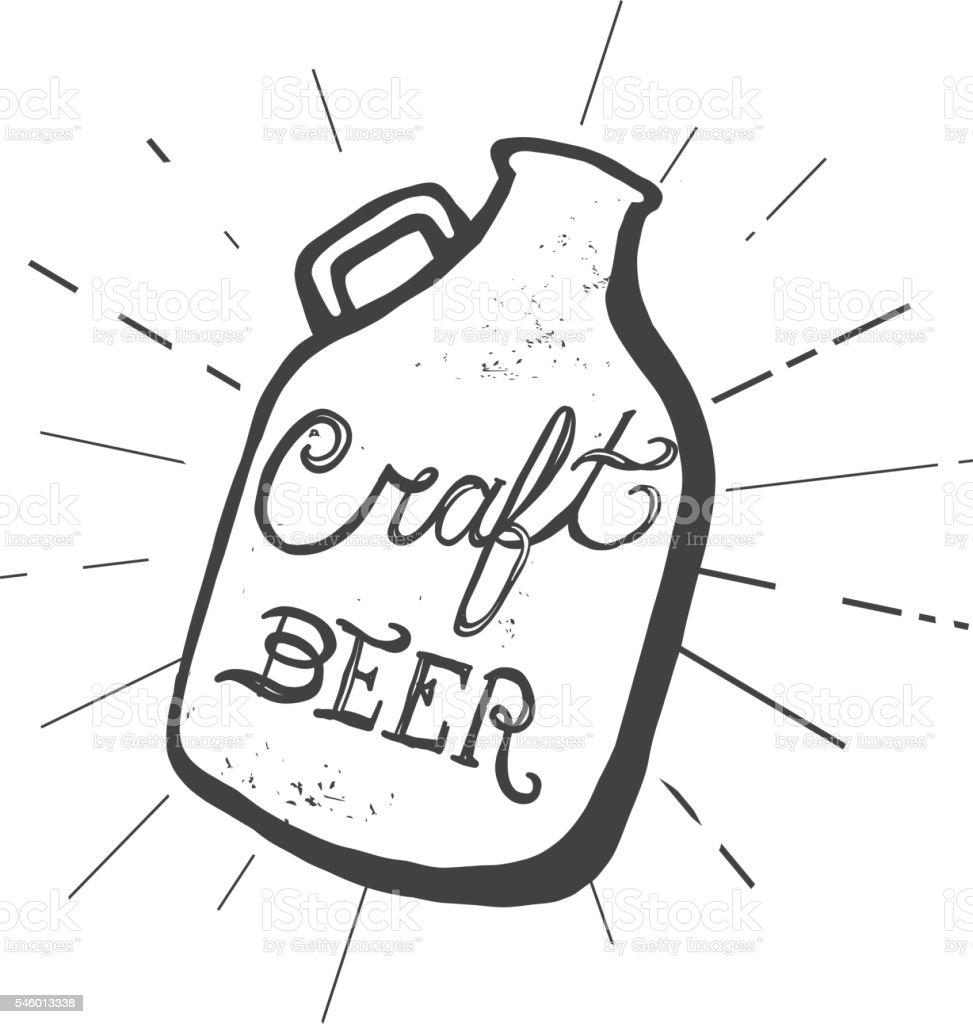 Craft beer jug label hand lettering design vector art illustration