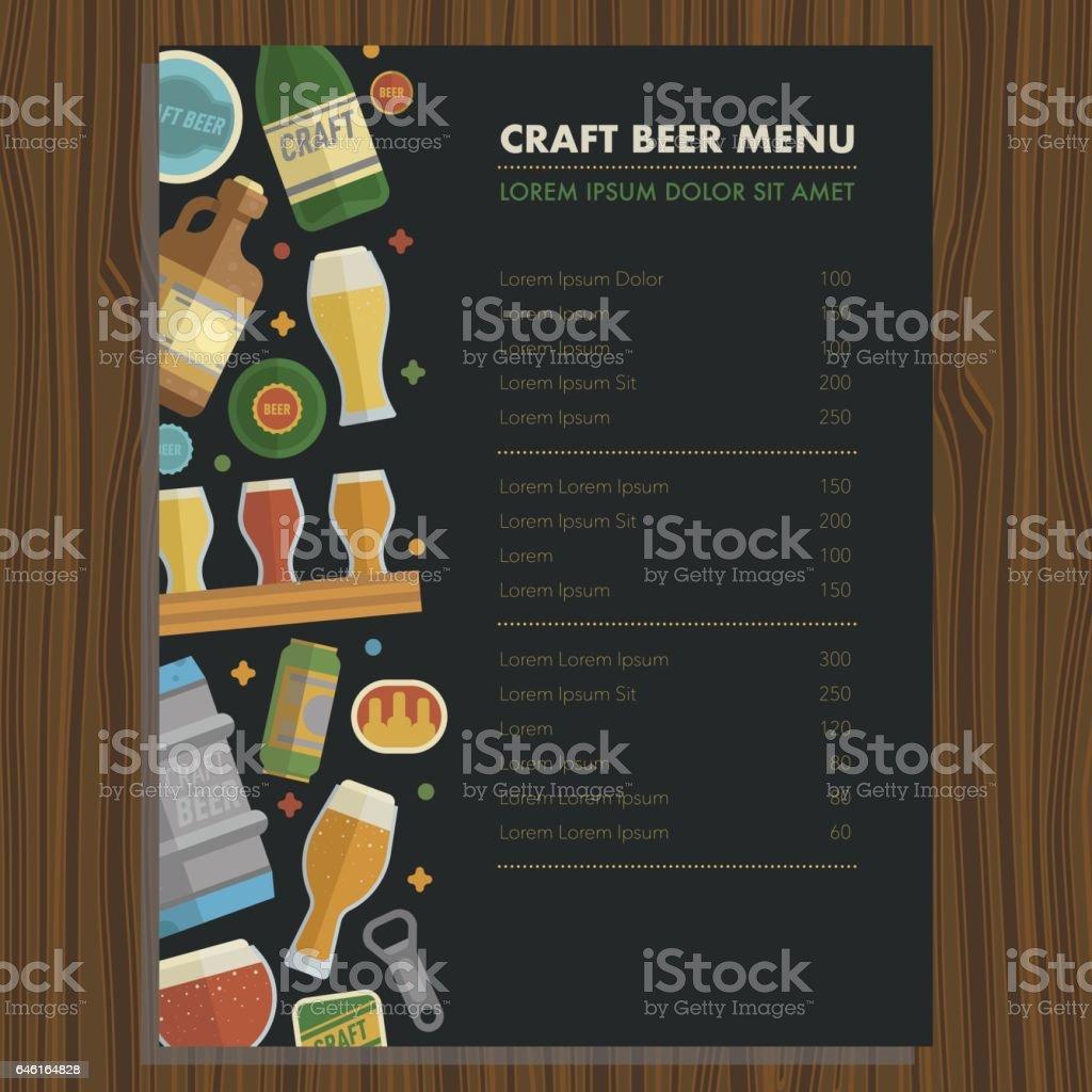 Craft Beer Menu Template For Bar And Restaraunt stock vector art – Beer Menu