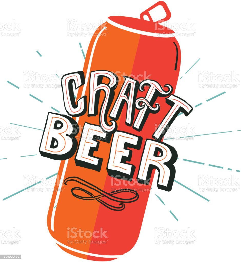 Craft Beer Tall Can label hand lettering design vector art illustration