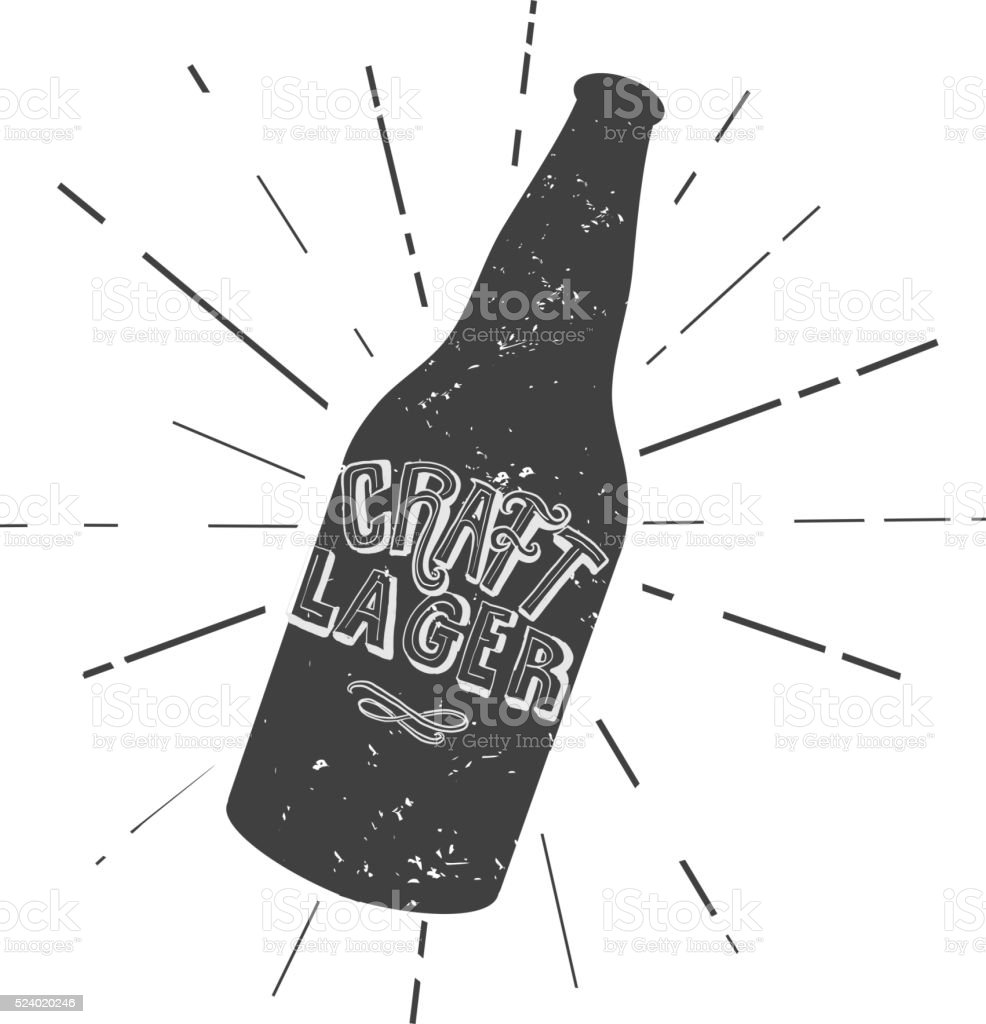 Craft Lager beer bottle label hand lettering design vector art illustration