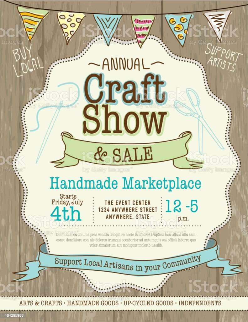 Poster design handmade - Craft Show And Sale Poster Design Template Royalty Free Stock Vector Art