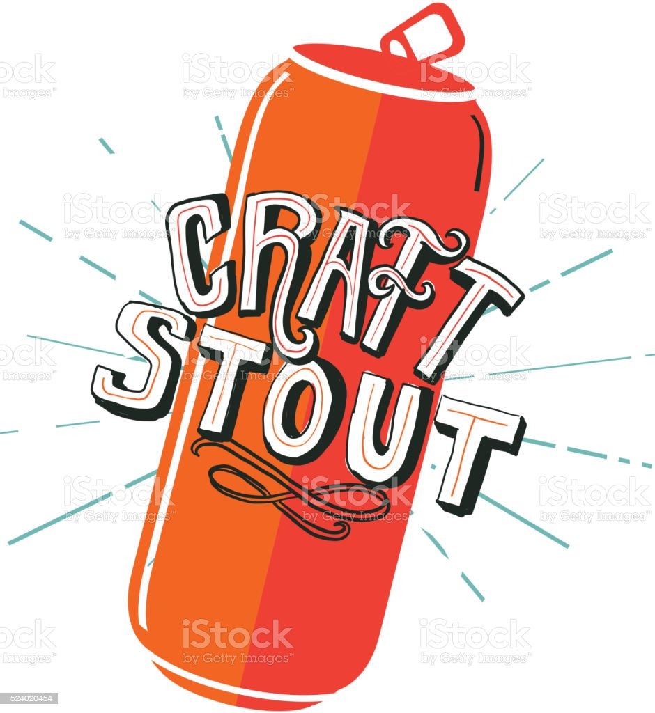 Craft Stout Tall Can label hand lettering design vector art illustration