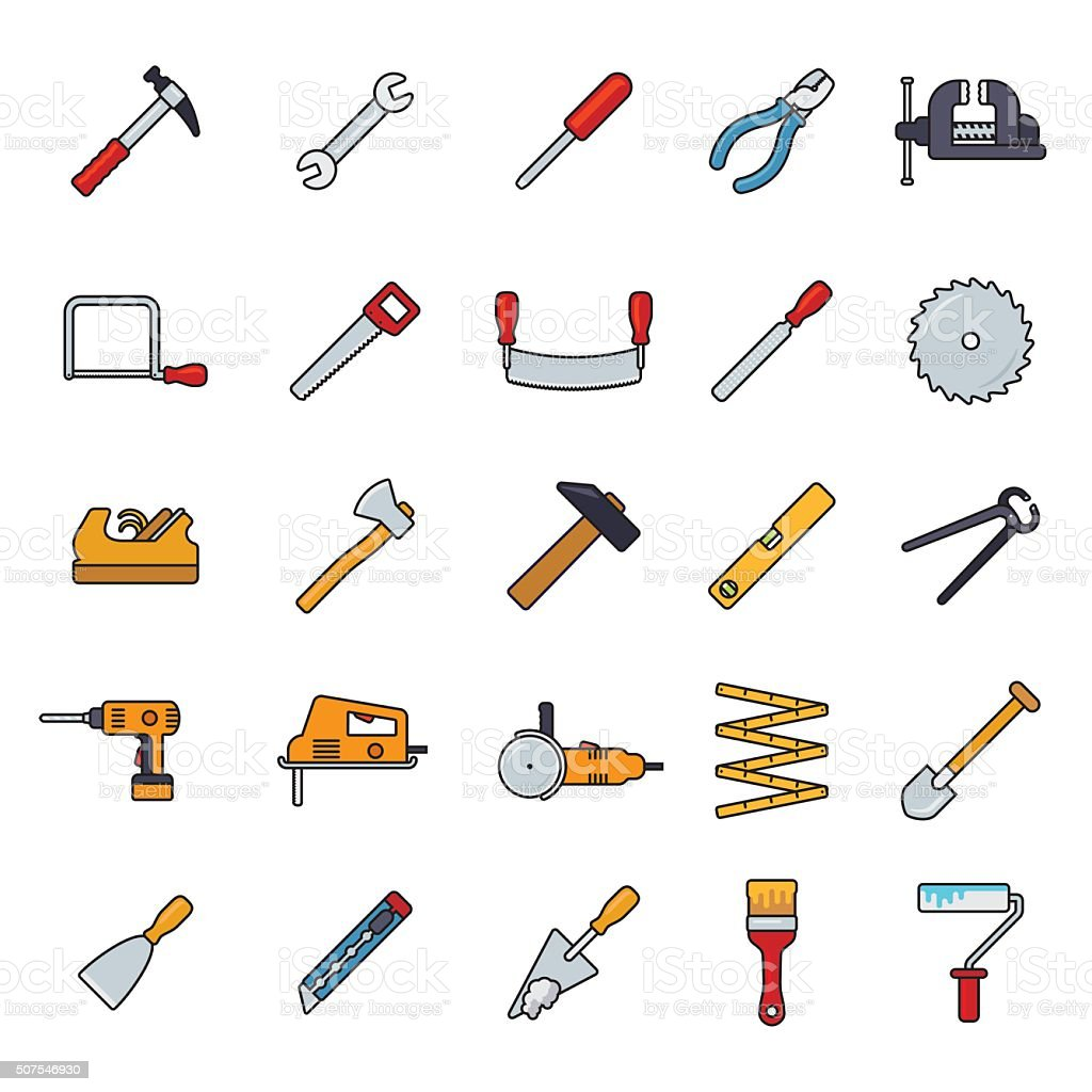 Crafting Tools Filled Line Icons Vector Set vector art illustration