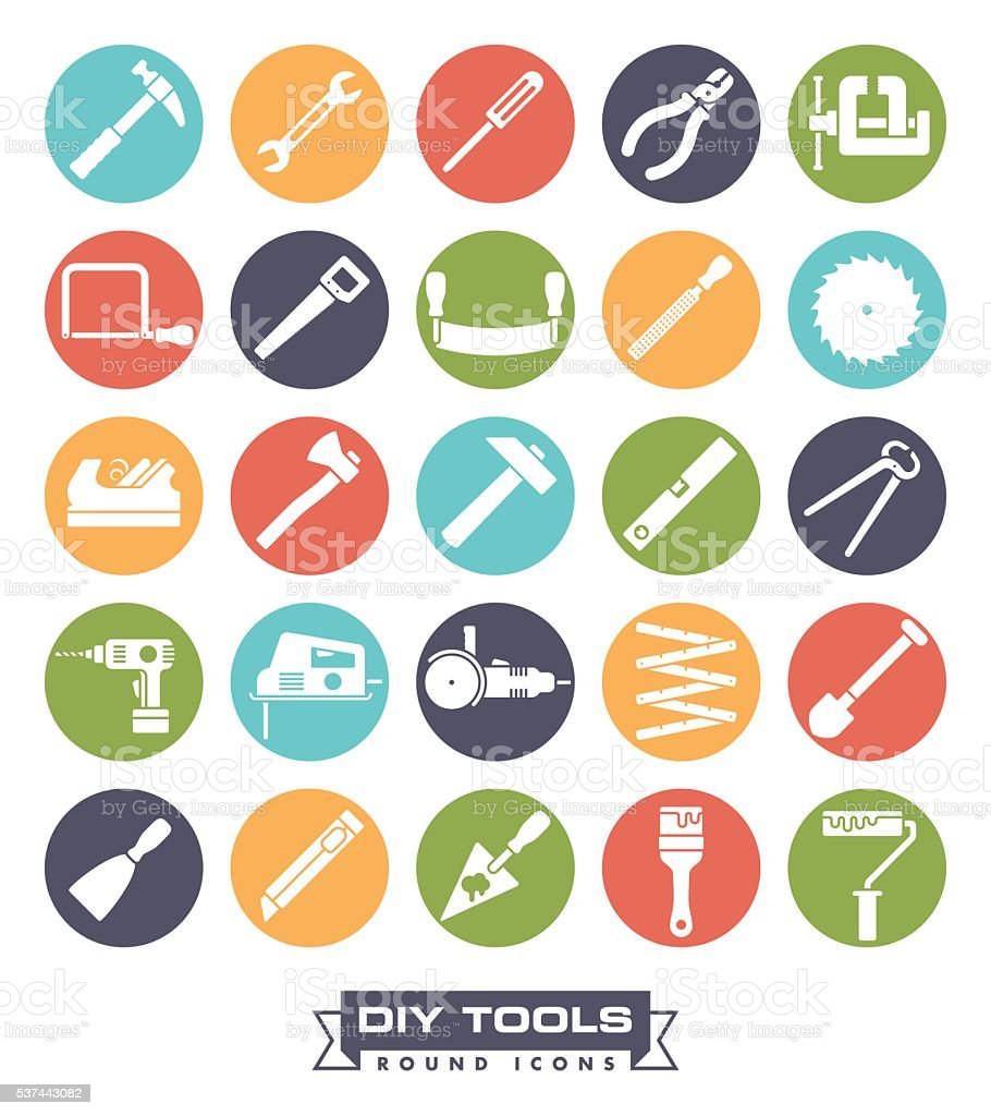 Crafting tools Round Color Icon Set vector art illustration