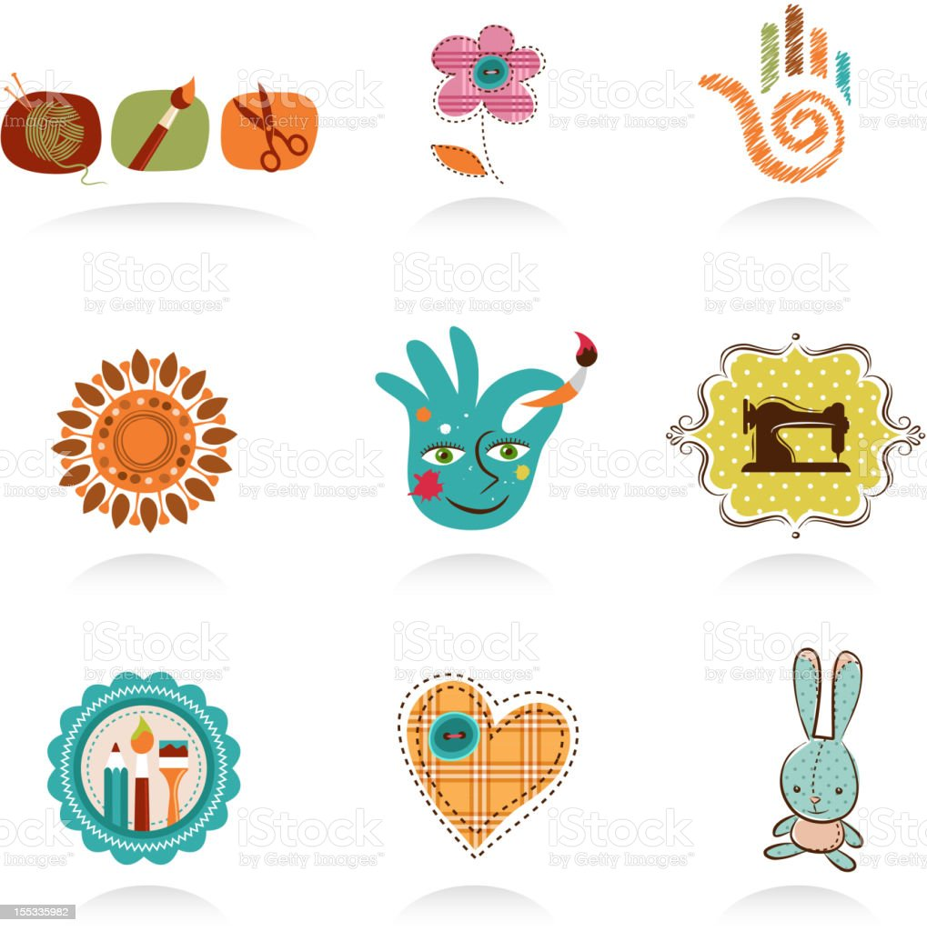 Crafts and Diy icons end elements vector art illustration
