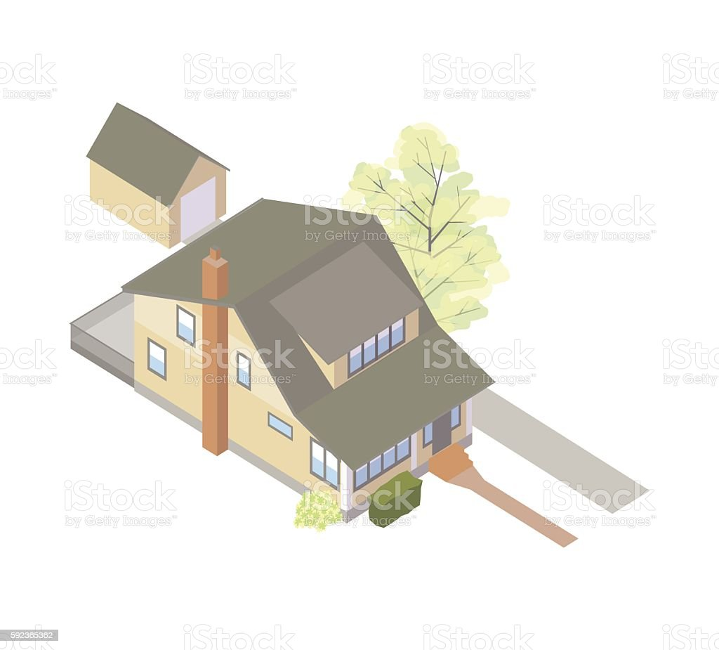 Craftsman bungalow house illustration vector art illustration