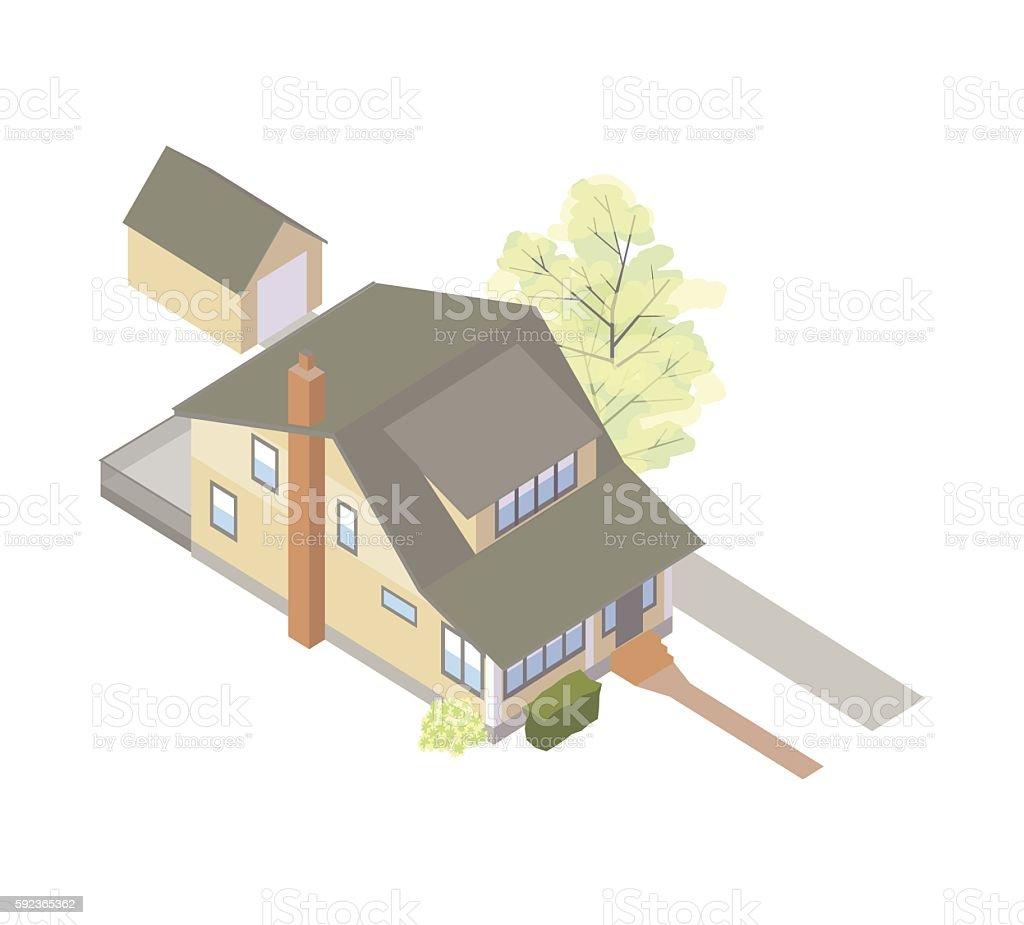 Craftsman bungalow house illustration vector art illustration