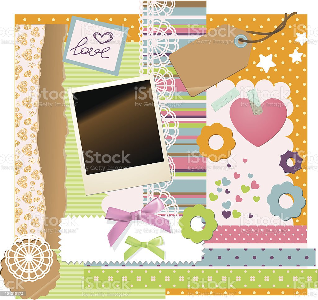 Crafty arranged materials for scrap+E118856booking vector art illustration