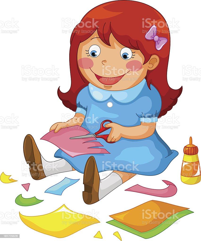 crafty girl royalty-free stock vector art