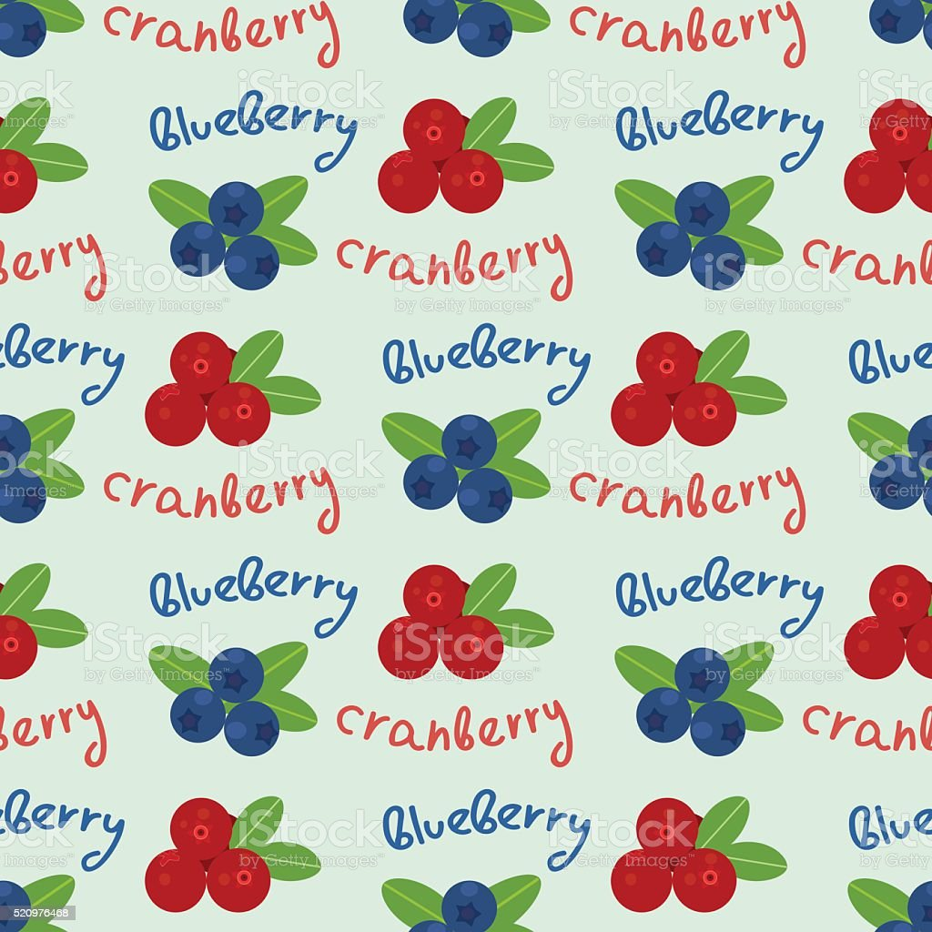 Cranberry and blueberry seamless pattern 6 vector art illustration