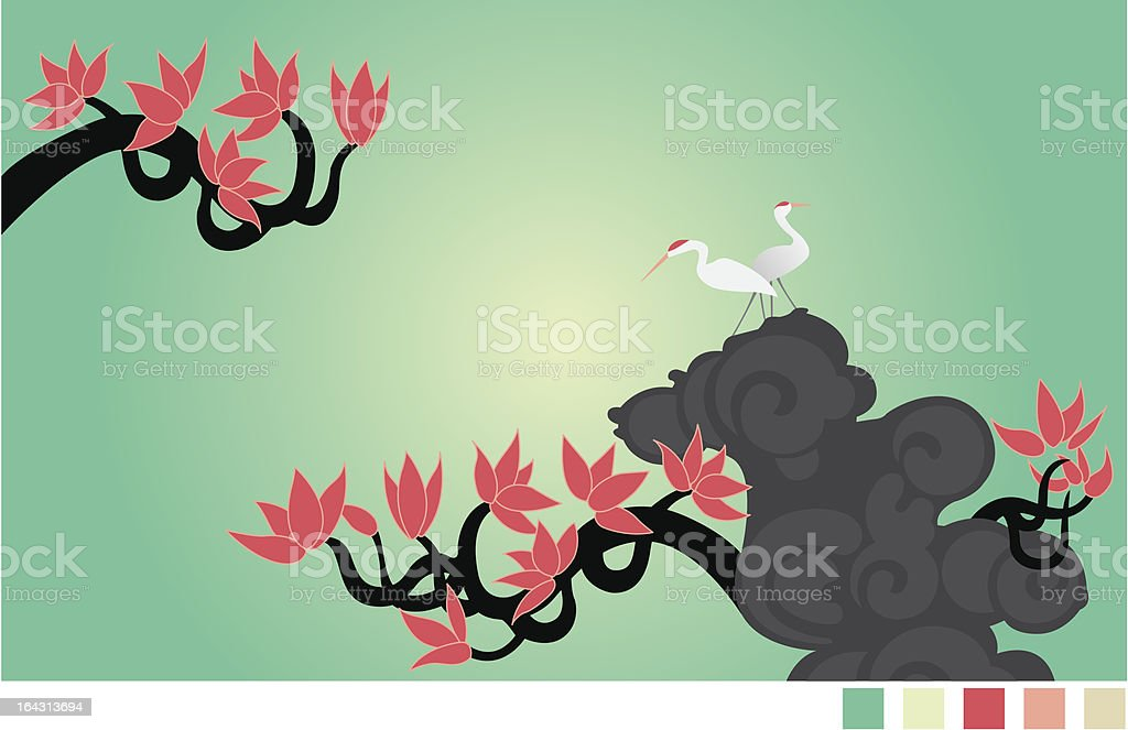 Crane and flower vector art illustration