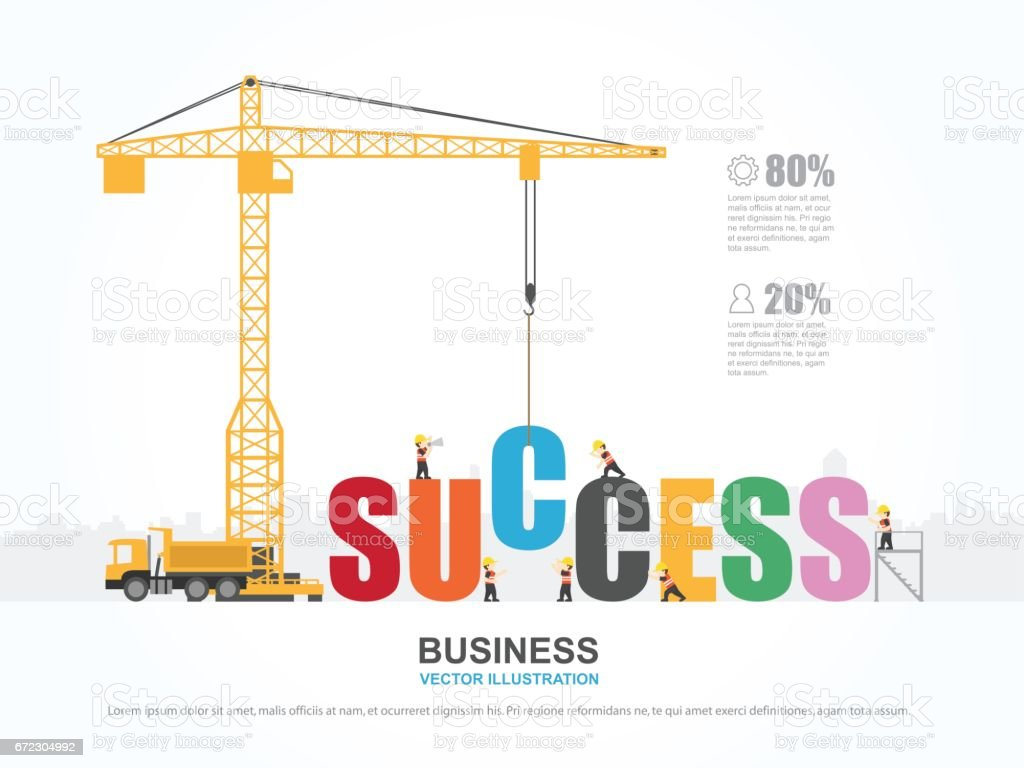 Crane and success building. Infographic Template. Vector Illustration. vector art illustration