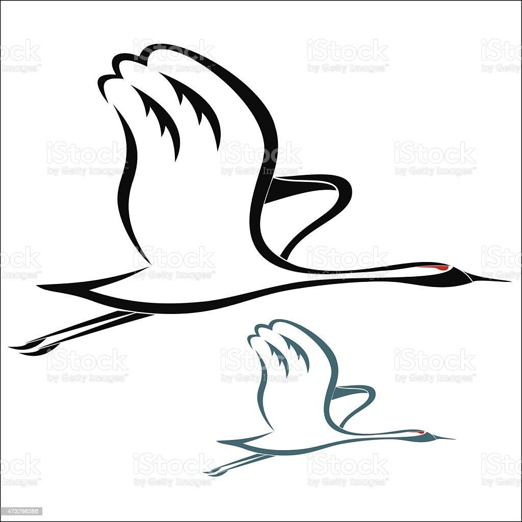 Crane bird flying royalty-free stock vector art