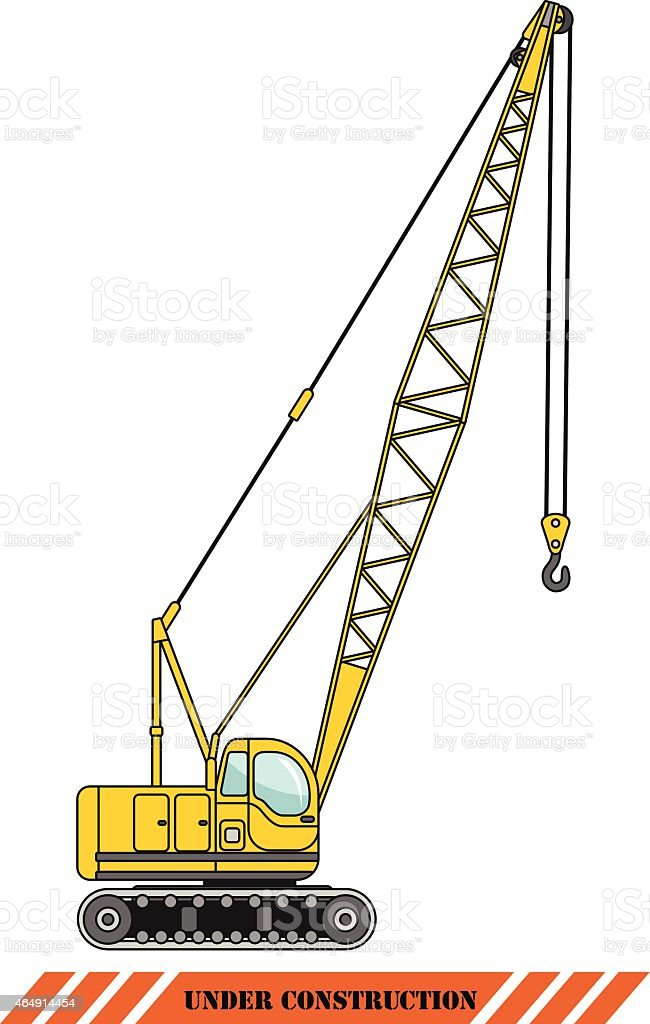 Crane. Heavy construction machines. Vector illustration vector art illustration