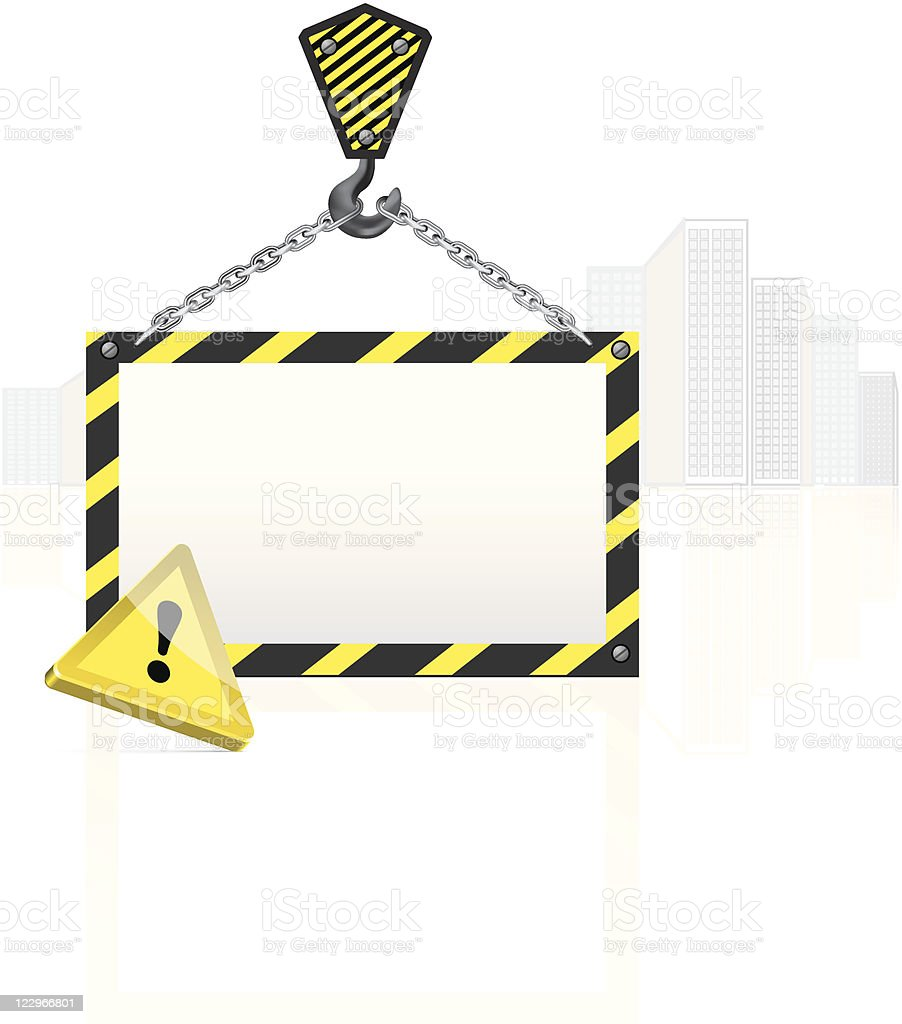 Crane hook with blank poster royalty-free stock vector art
