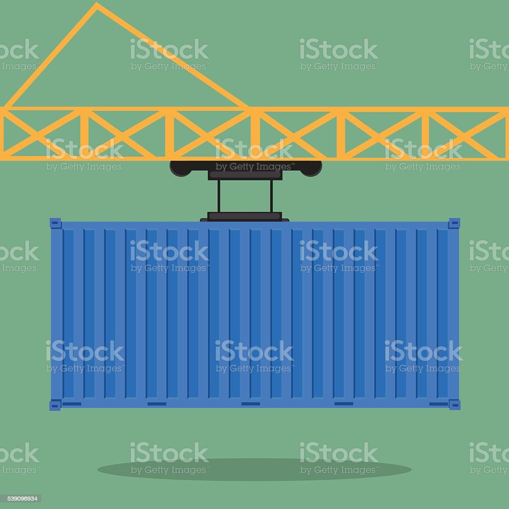 Crane lifts a blue container with cargo. vector art illustration