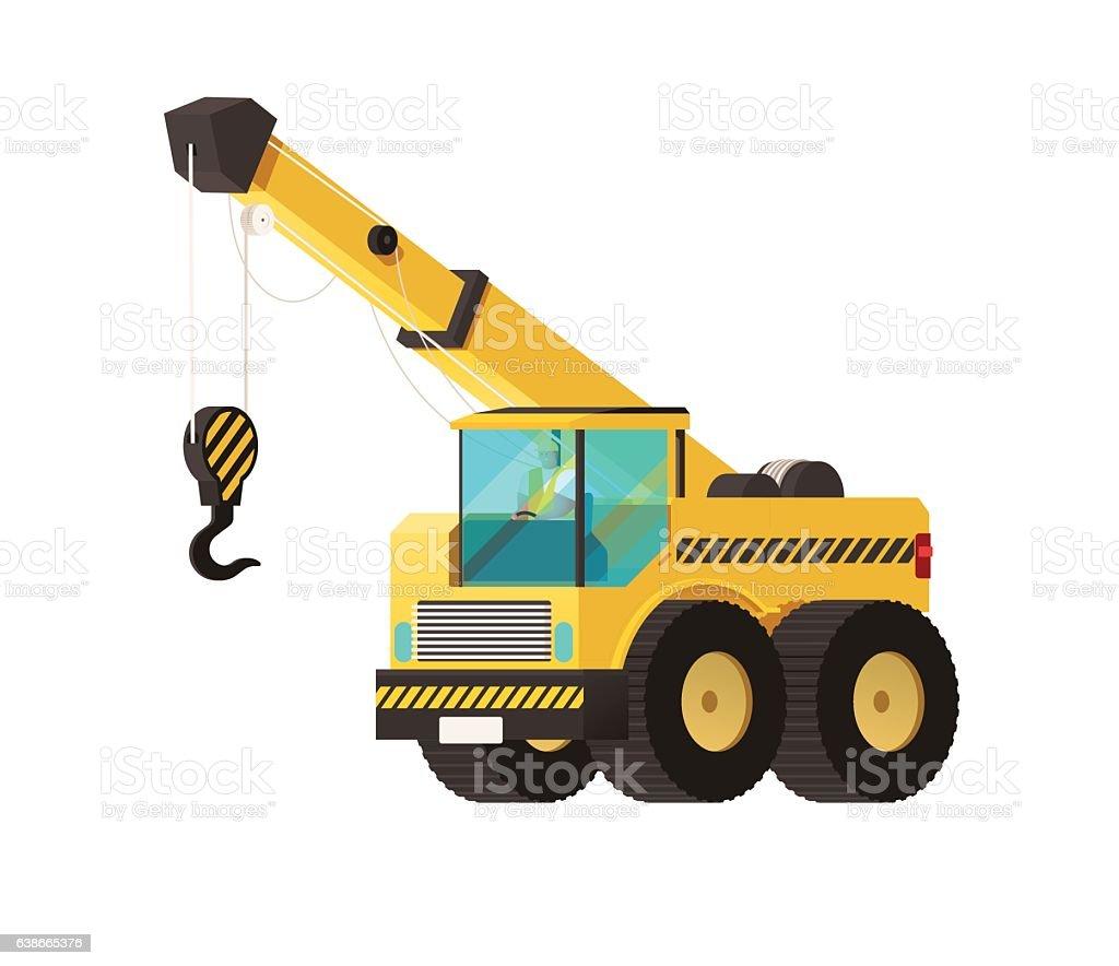 Crane truck. under construction concept. heavy construction vector art illustration
