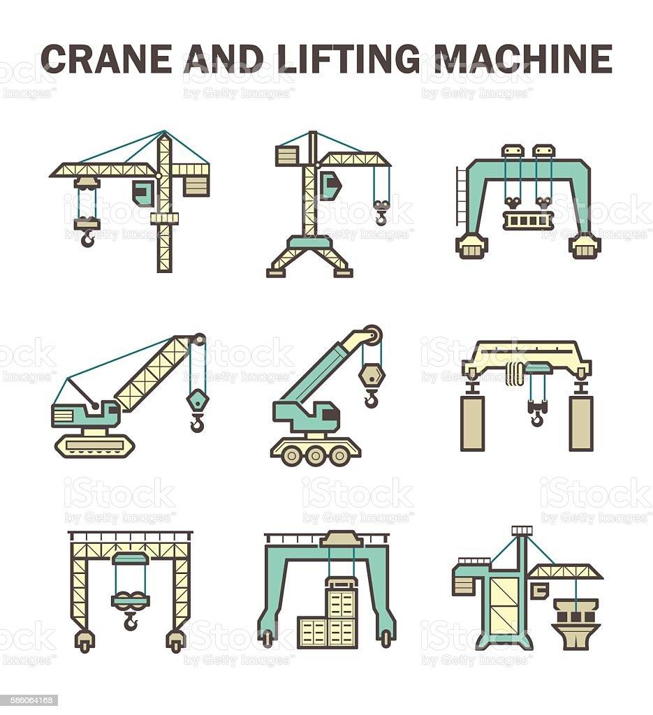 Crane vector icon vector art illustration