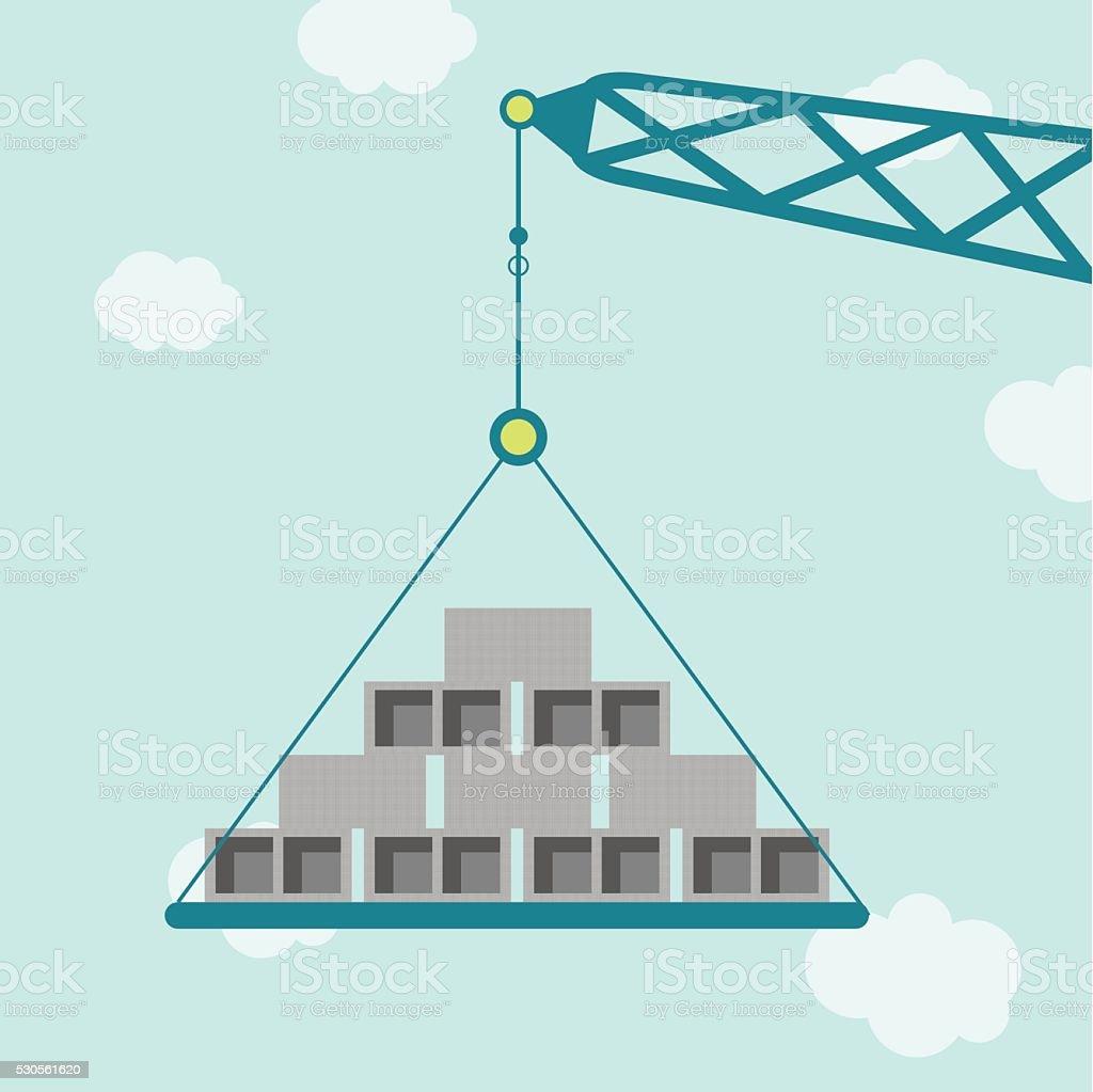 Crane with concrete blocks vector art illustration