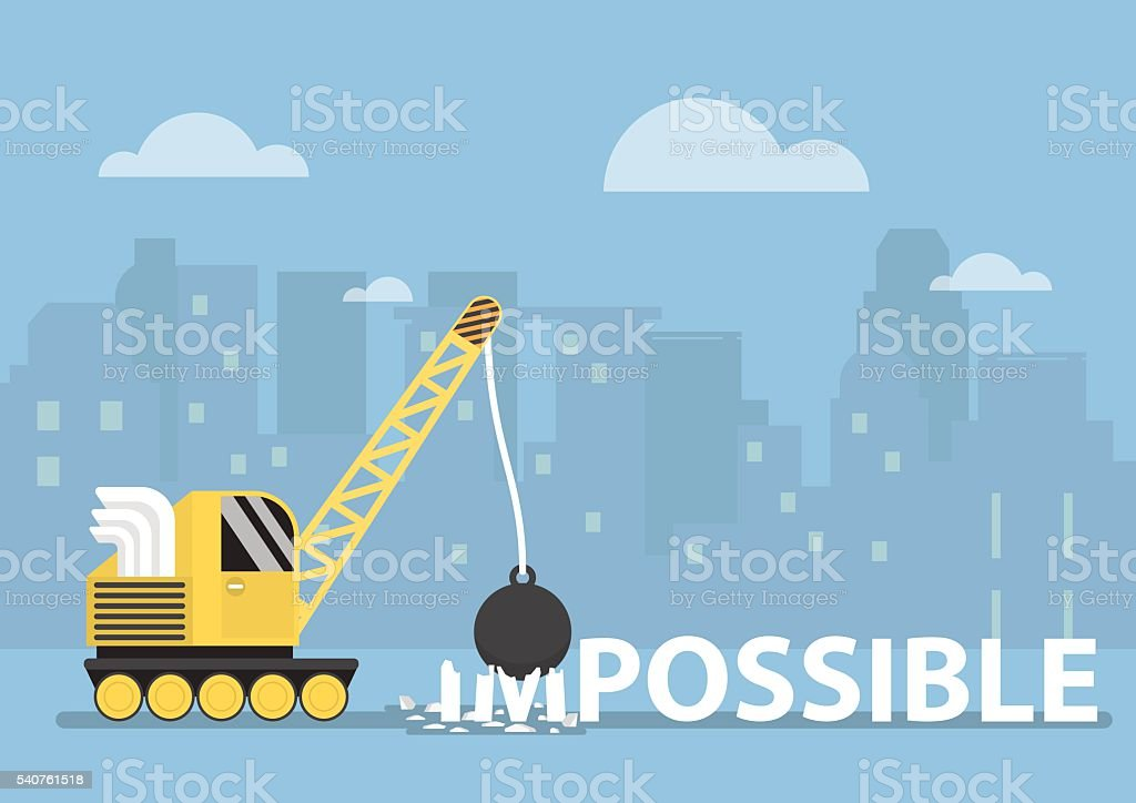 Crane with wrecking ball making the impossible possible vector art illustration