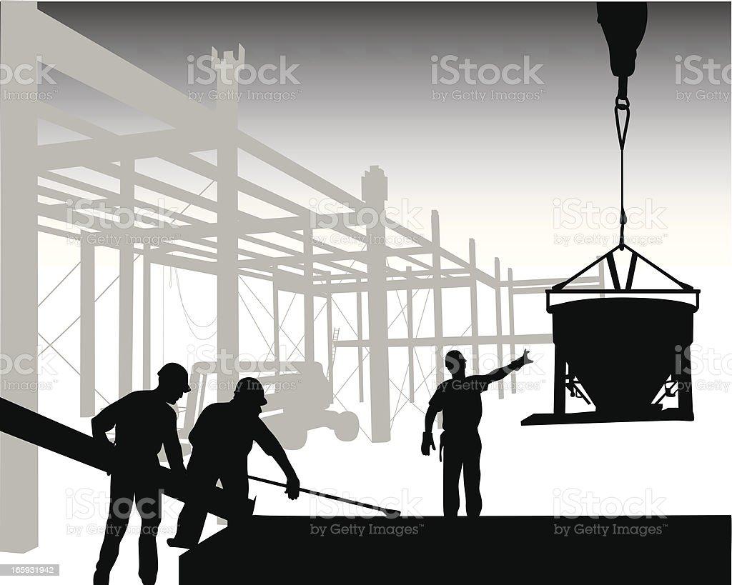 Crane'n Concrete Vector Silhouette vector art illustration