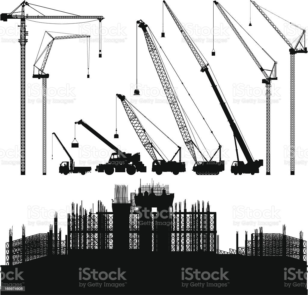 Cranes and Scaffolding vector art illustration
