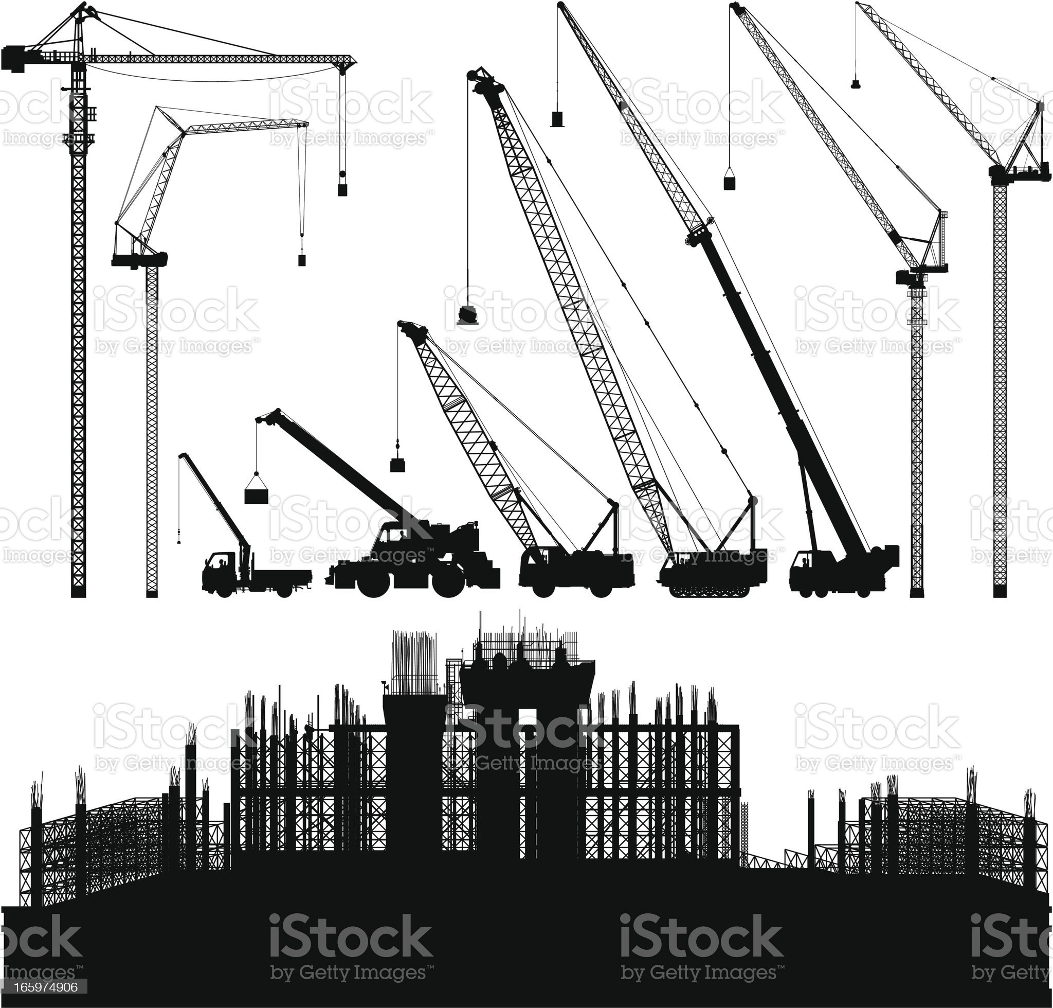 Cranes and Scaffolding royalty-free stock vector art