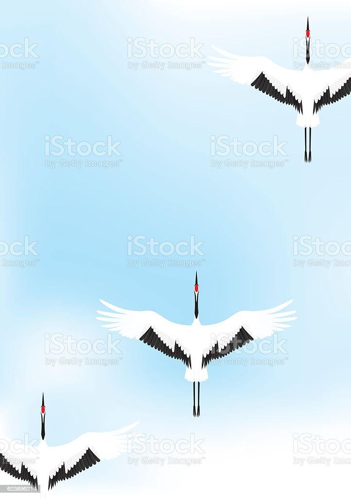 Cranes flying vector art illustration