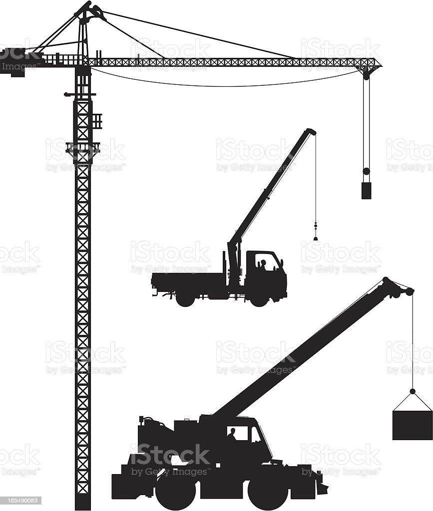 Cranes vector art illustration