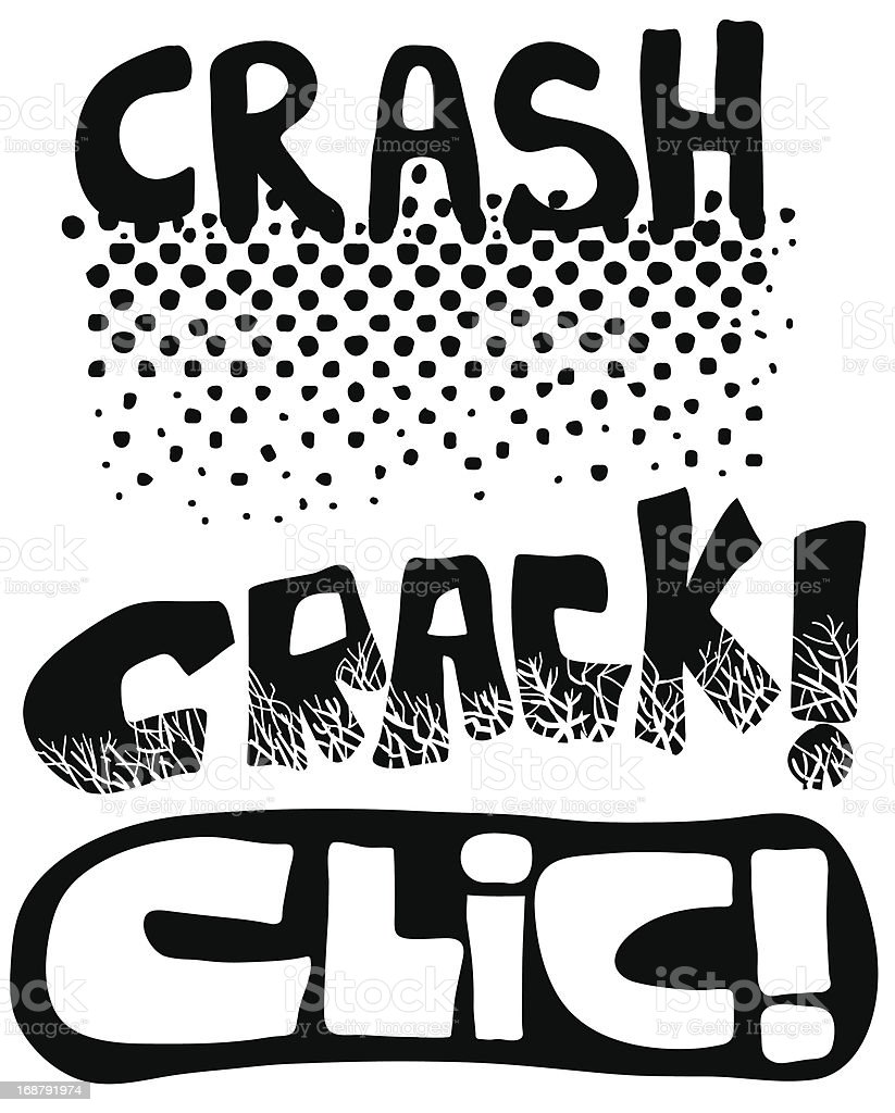 Crash crack and click words royalty-free stock vector art