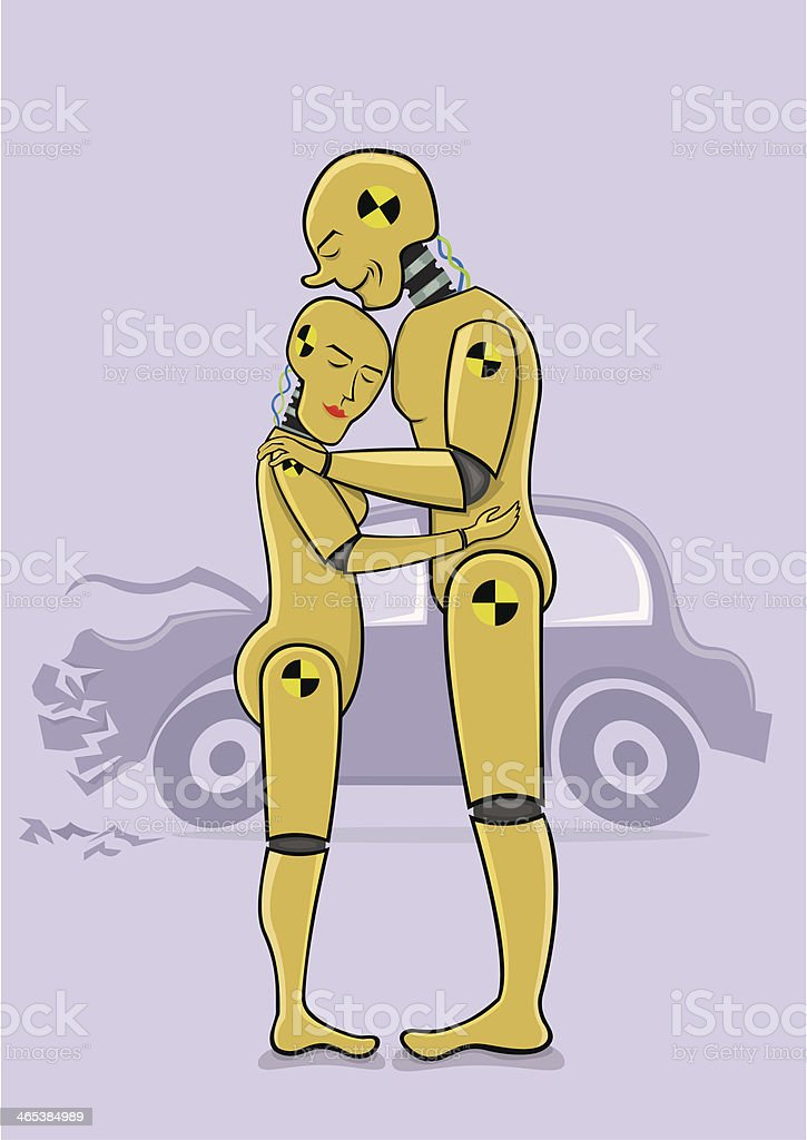 Crash test dummies in love vector art illustration
