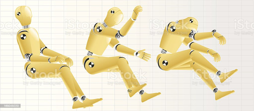 crash test dummy in motion royalty-free stock vector art