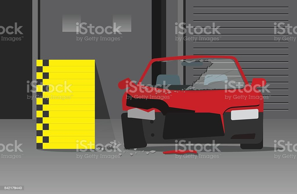 Crashed car vector illustration on dark garage, crash test concept vector art illustration