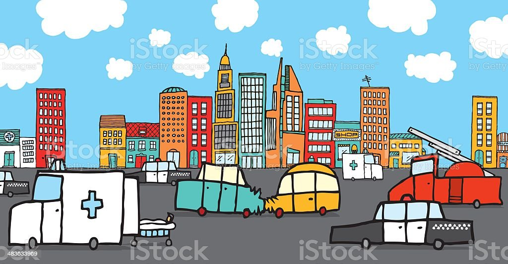 Crashed cars surrounded by service vehicles royalty-free stock vector art