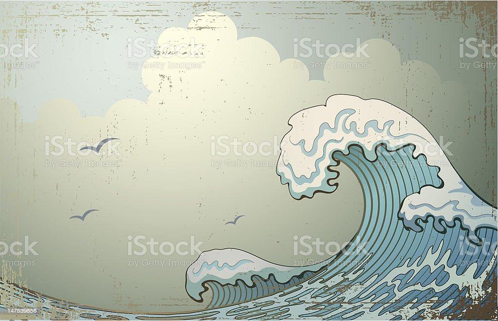 Crashing wave with birds flying overhead vector art illustration