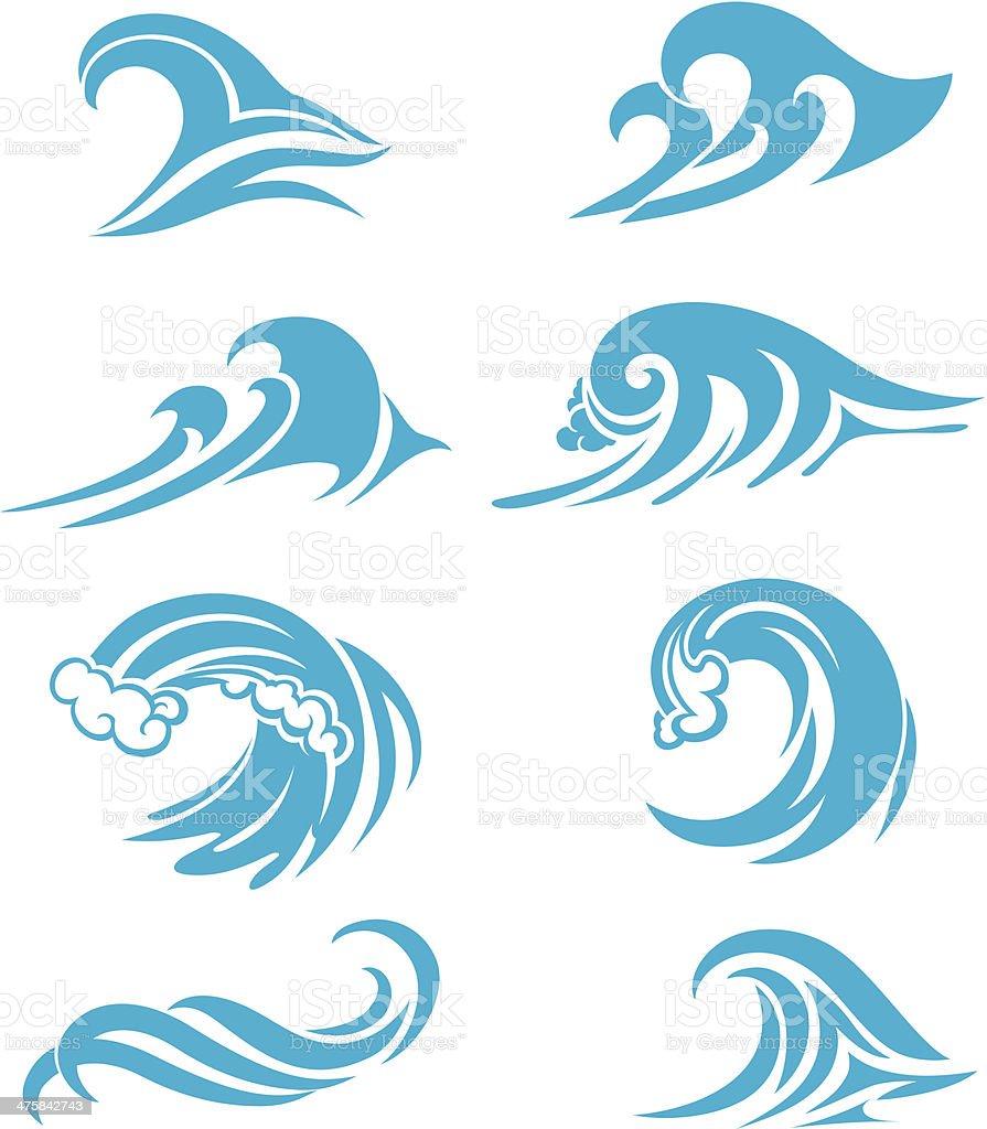 Crashing Waves Set vector art illustration