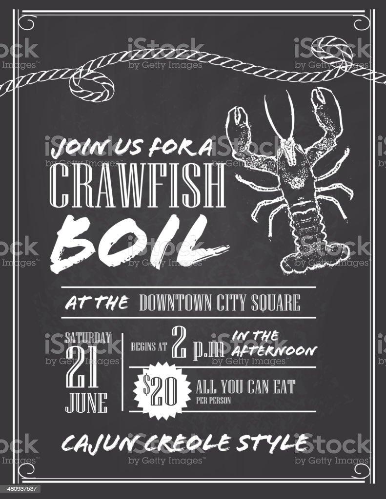 Crawfish Boil chalkboard invitation design template vector art illustration