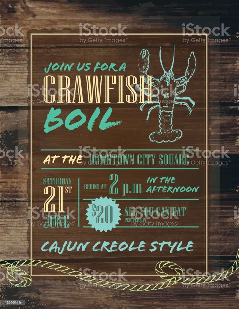 Crawfish Boil invitation design template blue and turquoise vector art illustration
