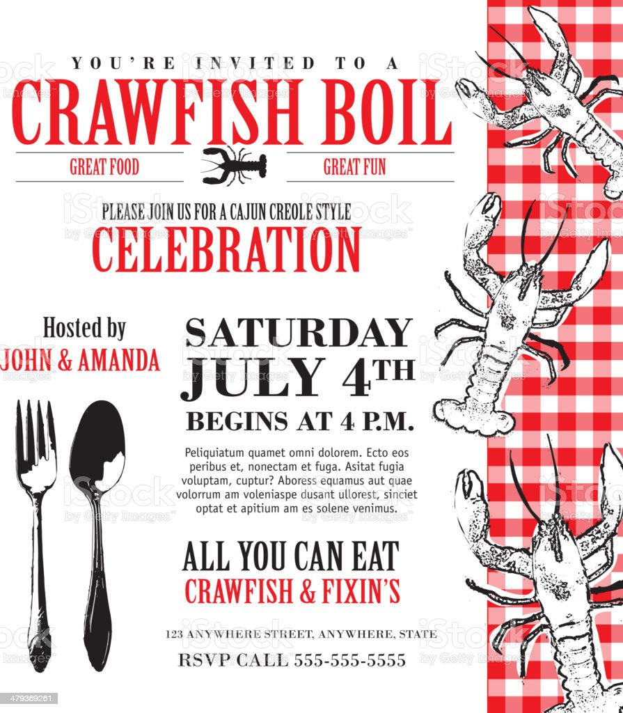 Crawfish boil invitation design template checkered tablecloth vector art illustration