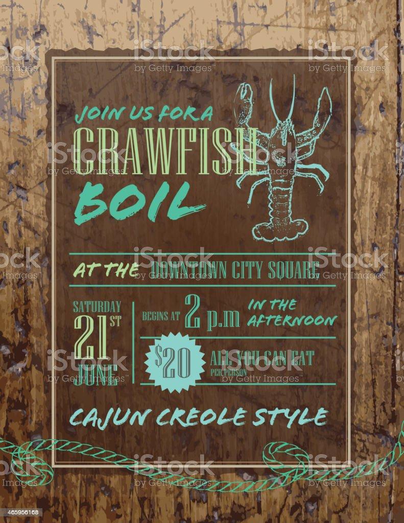 Crawfish Boil invitation design template on rustic wood vector art illustration