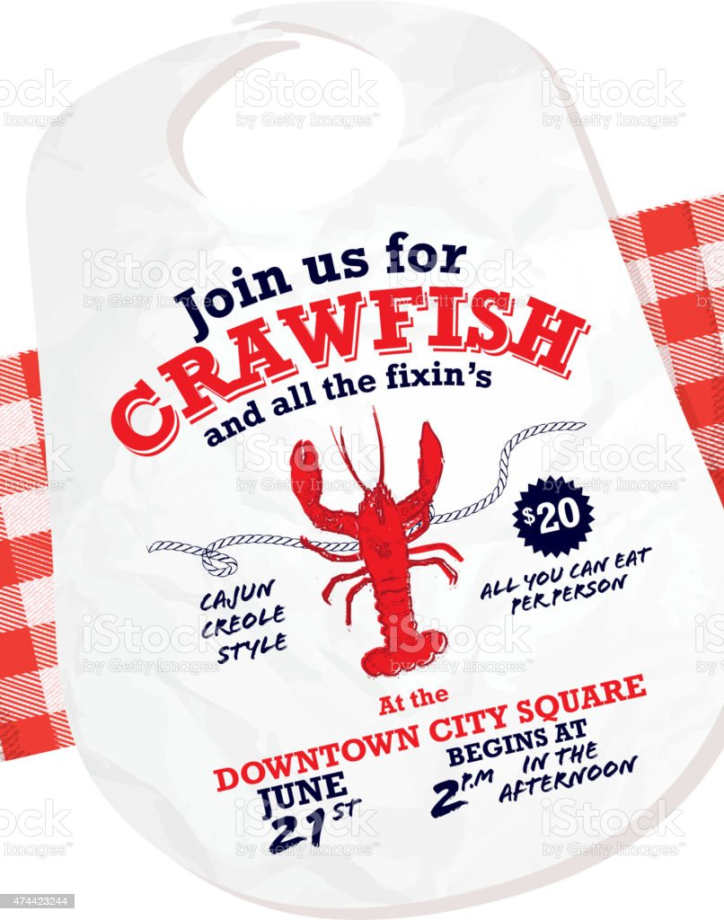 Crawfish Boil invitation design template on tablecloth background vector art illustration