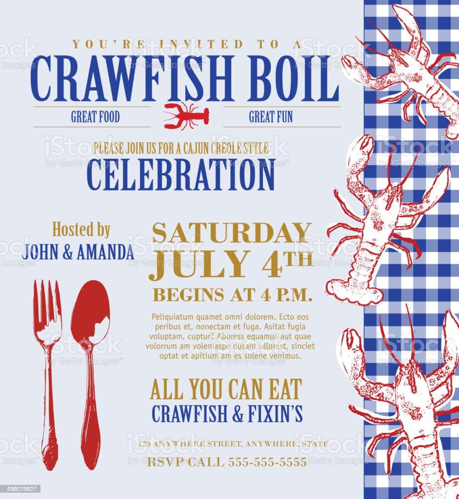 crawfish kochen einladung designvorlage zartes blau hintergrund, Einladung