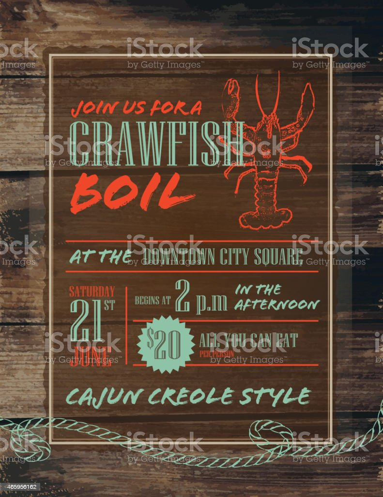 Crawfish Boil invitation design template red and turquoise vector art illustration