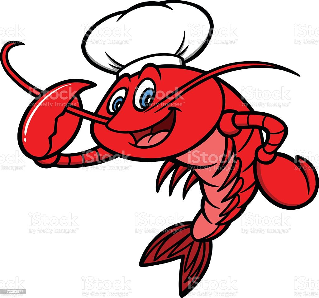 Crawfish Chef Mascot vector art illustration
