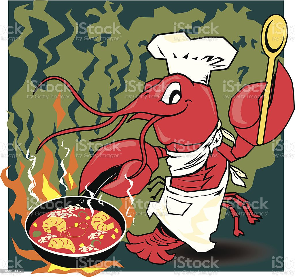Crawfish Chef vector art illustration